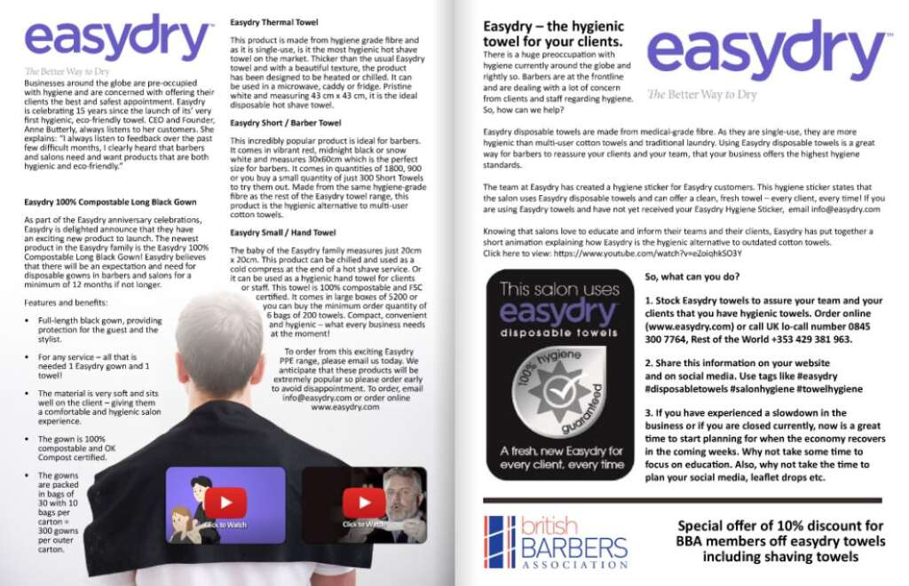 Easydry featured in the BBA Barber Digest